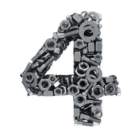 fasteners: Big digit Four made from metal fasteners Stock Photo