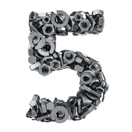 fasteners: Big digit Five made from metal fasteners Stock Photo