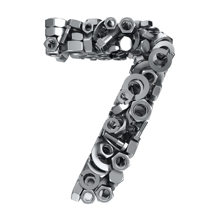 fasteners: Big digit Seven made from metal fasteners Stock Photo