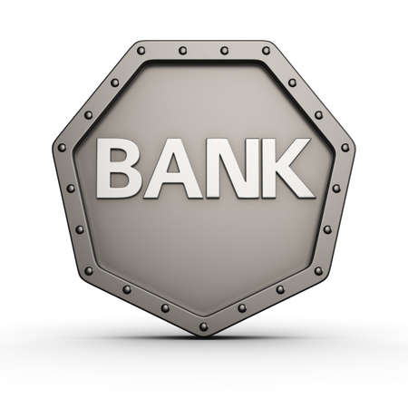 armored safes: Metal armored icon with rivets and BANK word Stock Photo