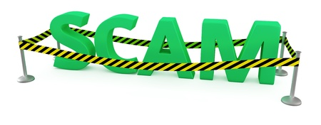 police tape: Word SCAM fenced by police tape Stock Photo