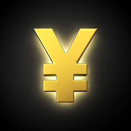 yen sign: Yen sign with backlight effect on the black background
