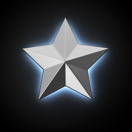 backlight: Five-pointed star with backlight effect on the black background Stock Photo
