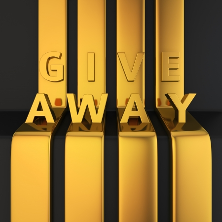 Gold letters GIVE AWAY on golden lines photo
