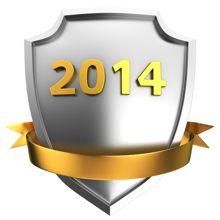 next year: Steel shield with golden decorative ribbon and digits 2014