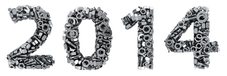 fasteners: Year 2014 digits made from metal fasteners Stock Photo
