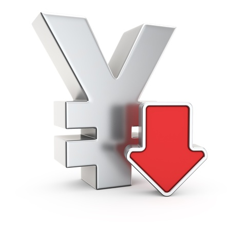 depreciation: Yen currency symbol and icon of depreciation