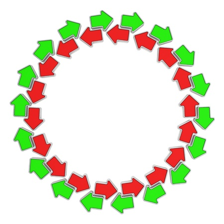 oppositional: Green and red arrows moving in opposite directions