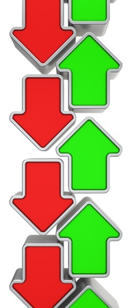 oppositional: Green and red arrows pointing in opposite directions