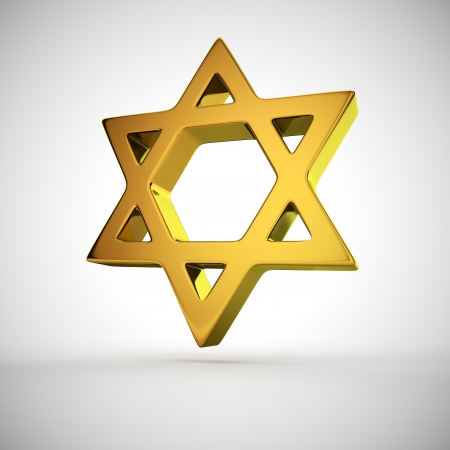 Golden star of David on the white background photo