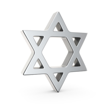 Chrome star of David on the white background photo