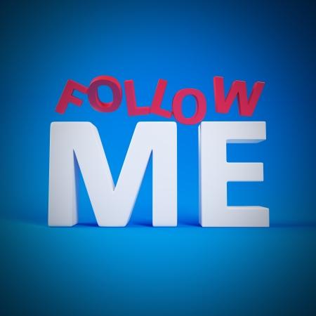 follow me: Big letters Follow Me on blue background