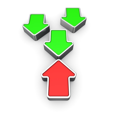 oppositional: Opposite red and green arrows on the white background