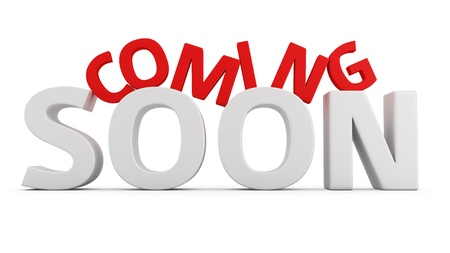 soon: Label Coming Soon on white background Stock Photo