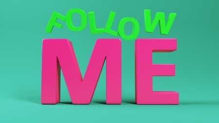 follow me: Big letters Follow Me on green background Stock Photo