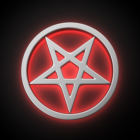 pentacle: Magic pentacle with red backlight effect on the black background