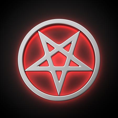 pentacle: Magico pentacolo con effetto retroilluminazione rossa su sfondo nero