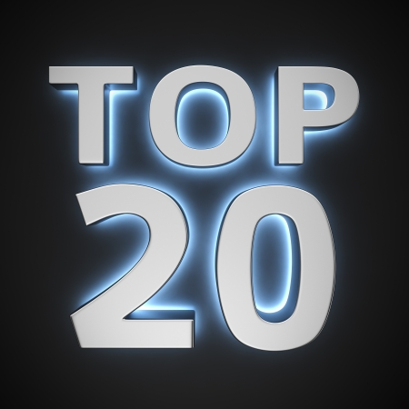 Text Top 20 with backlight effect on the black background photo