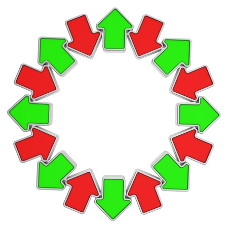 oppositional: Abstract frame made from green and red oppositional arrows Stock Photo