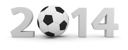 next day: Big digits of new 2014 year with soccer ball