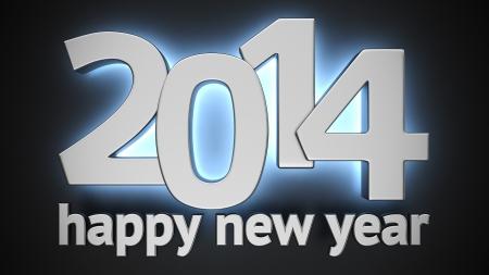 Big metal luminous digits of new year on black