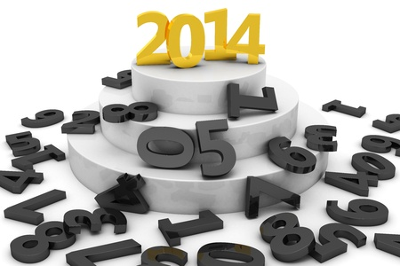 Golden digits of year 2014 stands among the other letters photo