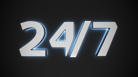Sign 247 with backlight effect on the black background Stock Photo