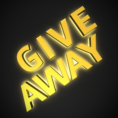 Text Give Away with backlight effect on the black background photo