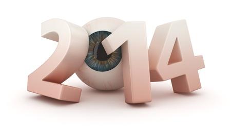 Big digits 2014 with eye Stock Photo - 20593952