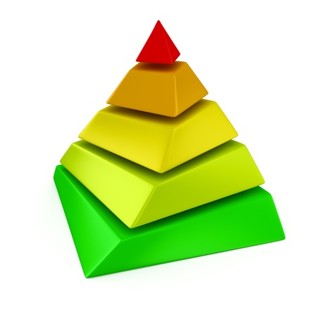 Multicolored layered pyramid on the white background
