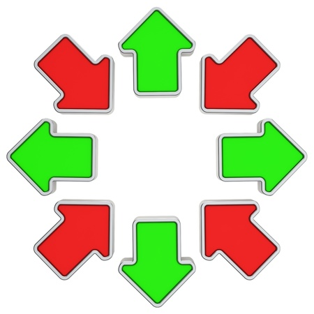 oppositional: Outgoing and inward arrows in a circle