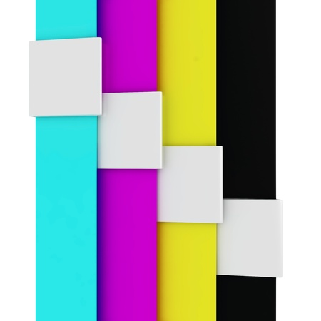 4 color printing: White bookmarks on the CMYK stripes Stock Photo