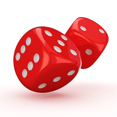 rolling dice: Two red dice rolling on the white background