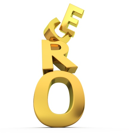 unreliable: Golden letters Euro falling down on the white background
