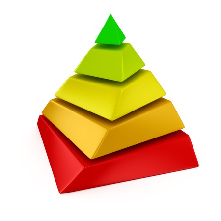 teorema: Multicolor pir�mide acodada sobre el fondo blanco