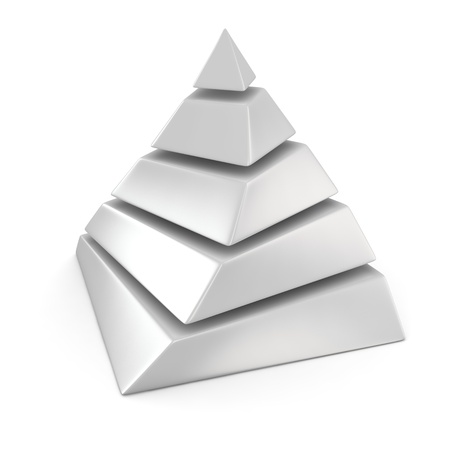 hierarchical: White layered pyramid on the white background Stock Photo