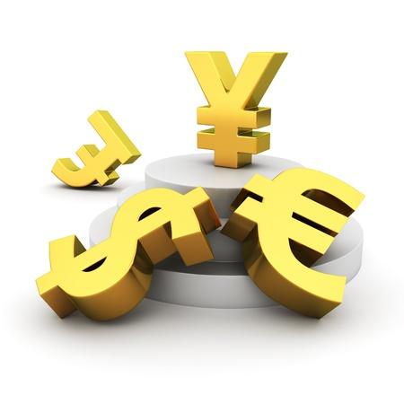 Golden yen sign on the leader podium