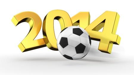 Soccer ball breaking golden digits 2014 Standard-Bild