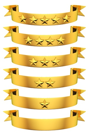 Rating of golden ribbons with stars photo