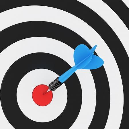 dartboard: Blue arrow in the center of dartboard