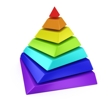 Multicolored layered pyramid on the white background photo