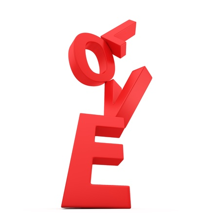 unreliable: Red letters Love falling down on the white background Stock Photo