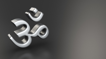 Metal Om symbol on grey background photo