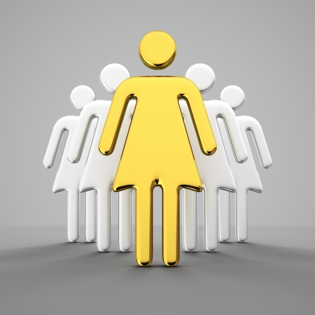 Golden female figure leads the crowd of women Stock Photo