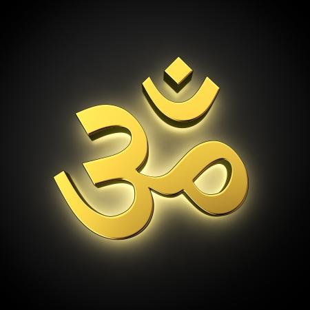 ohm symbol: Golden shine Om indian symbol illuminated on black Stock Photo