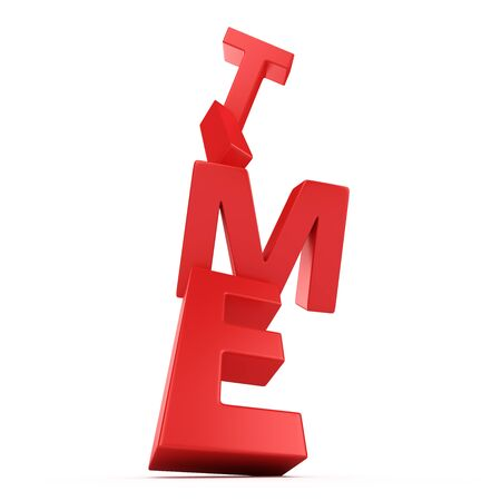 unreliable: Red letters Time falling down on the white background