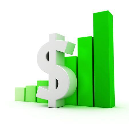 Dollar symbol and bar graph on white