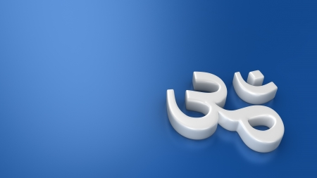 White Om indian symbol on blue background photo