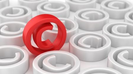 Vele witte copyright symbolen rond rode
