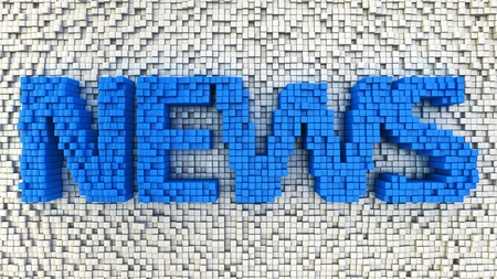 Word NEWS made from matrix of blue cubes photo